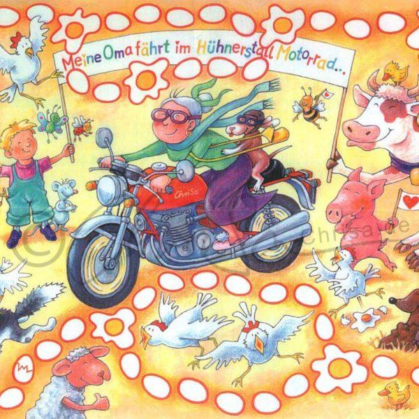 Meine Oma fährt im Hühnerstall Motorrad, Poster-Illustration für die Zeitschrift Baby