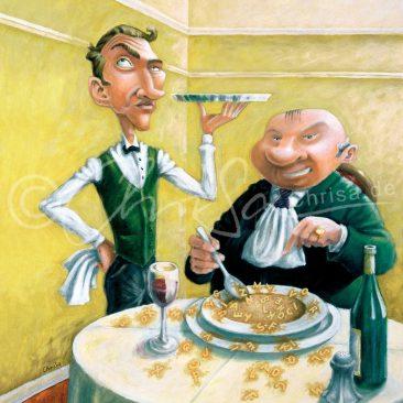 """Satirische Malerei. Restaurant-Szene. Kellner und Gast: """"Herr Ober, in meiner Suppe ist kein H!"""""""