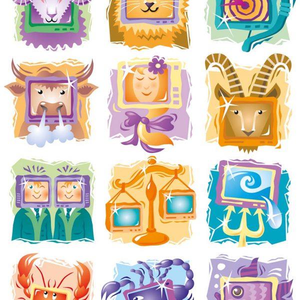 Horoskop-Illustrationen, Sternzeichen-Serie, Icons  für TV NEU