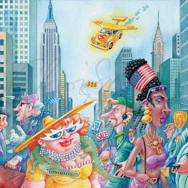 """Illustration für das Fan-Magazin """"Supertrabi"""" , Verlag Bergstrasse. VOR dem Angriff auf das World Trade Center entstanden!"""