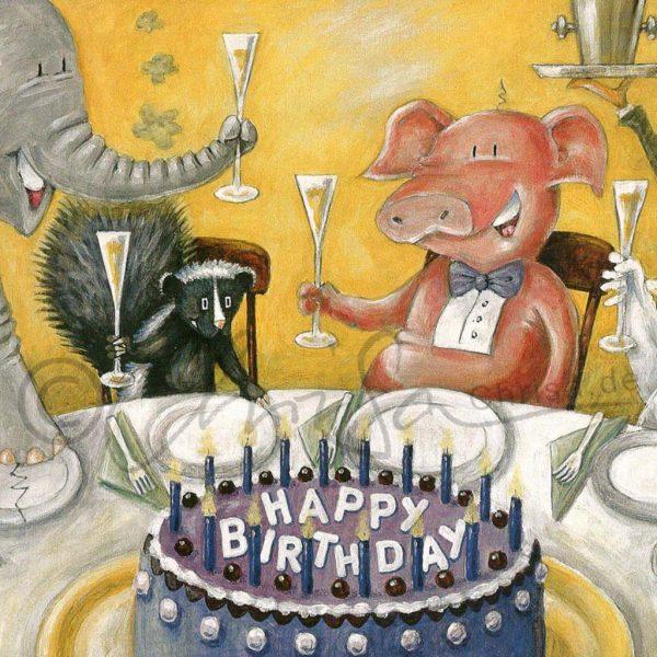 Illustration zum Geburtstag, Postkarte für ein Abo-Magazin, Leipziger Volkszeitung
