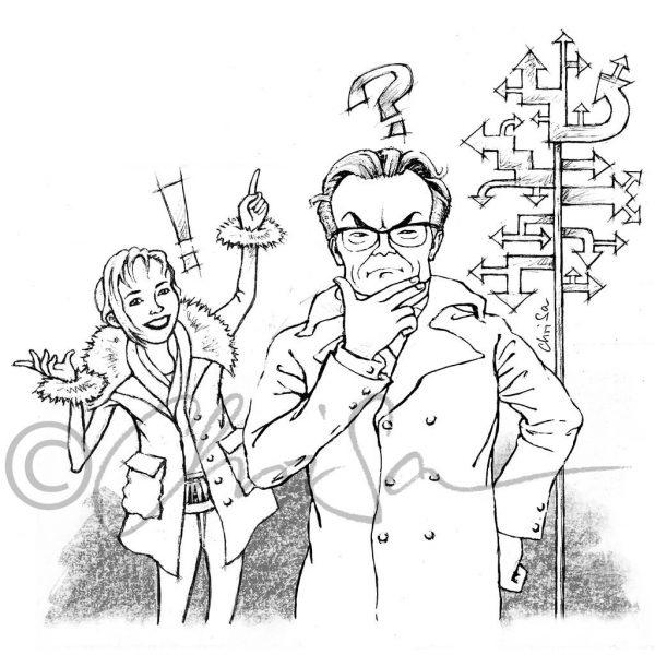 Franziska Rubin und Wolfgang Lippert, Karikatur für den mdr/ Mitteldeutscher Rundfunk