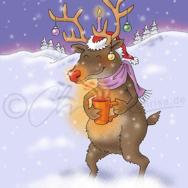 Rentier mit Weihnachtsschmuck, Entwurf einer Weihnachtskarte, Eigen-Werbung