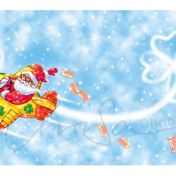 Illustration für die Werbung: Weihnachtskarte für Sächsische Lotto GmbH