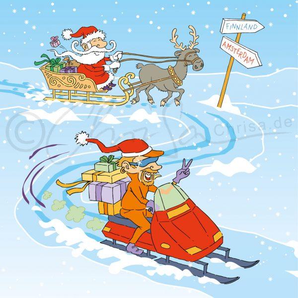 Illustration für die Werbung: Weihnachtsmänner, traditionell und modern, Poster-Illustration für Oracle
