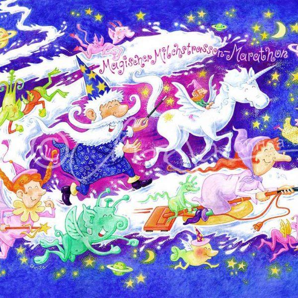 Magischer Milchstrassen-Marathon, Poster-Illustration für die Zeitschrift Baby