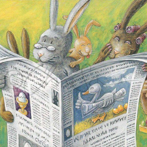 Illustration zu Ostern, Postkarte für ein Abo-Magazin, Leipziger Volkszeitung